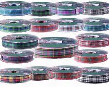Satin Tartan Ribbon  15mm / 25mm X 20m Full Rolls.Christmas, Scottish Party.