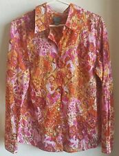 Additions by Chico's Buttons Floral cotton shirt blouse orange pink Size 1- EUC