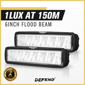 DEFEND INDUST Pair 6 inch CREE FLOOD LED Work Light Bar Driving Lights 4WD