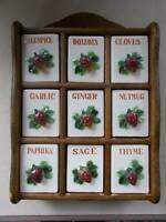 VINTAGE JAPAN SPICE RACK wall mount 9 spice drawers hand paint strawberry handle