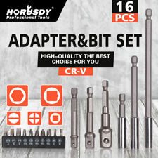 16Pc Socket Bits Adapter & Hex Shank Magnetic Extension Set Security ScrewDriver