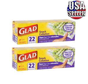 """(2) Boxes New Glad Snack-Size Zipper Storage Bags, 22-ct. Each 6-5/8"""" x 3-1/4"""""""