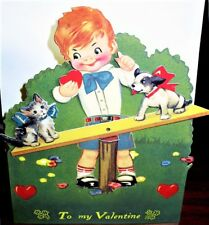 Moving DOG & CAT SEESAW VALENTINE CARD Stand-up Display MINT/SEALED HTF Shackman