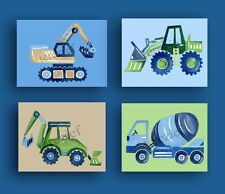 CONSTRUCTION CARS TRUCKS BUSY BUILDER BABY BOY CHILDREN NURSERY WALL ART DECOR
