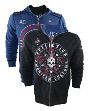 Authentic Affliction Hoffa Reversible Hoodie Distressed American UFC MMA Fighter