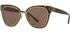 Tory Burch Feminino Brilhante Preto/ouro-tom Óculos De Sol Olho De Gato-TY6061 325673 53