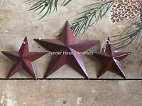 "Set of 3 ~ 5.5"" / 3.5"" BURGUNDY BLACK BARN STAR Metal Primitive Country Rustic"