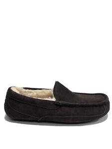 UGG Men's Ascot, Dark Brown Suede Slippers, Size 11M.