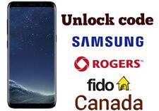 Unlock code Rogers Fido Samsung S8 plus S8 S7 Edge S6 Edge A5 Xcover 4 J3