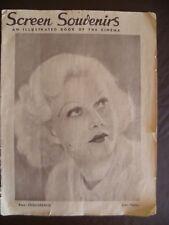 SCREEN SOUVENIRS 1933 Vintage Australian Movie Magazine Jean Harlow Cover