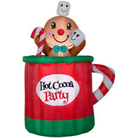 CHRISTMAS SANTA ANIMATED GINGERBREAD MAN IN CUP MUG COCOA  AIRBLOWN INFLATABLE