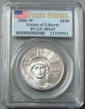 2006 W PLATINUM $100 EAGLE BURNISHED DIE PCGS MS 69 FIRST STRIKE 3,068 MINTED