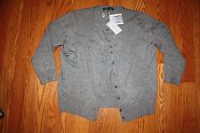 NWT Womens CABLE & GAUGE Heather Gray Cardigan Sweater 3/4 Sleeve XXL 2XL