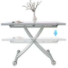 Foldable Dining Table Elevated 5in 1 Rectangle Table Meeting/Coffee Table White