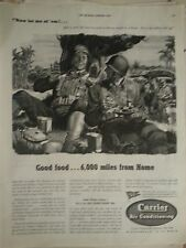 1942 Carrier Air Conditioning WWII Military Men Good Food 6000 Miles Home  Ad