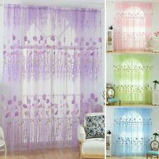 Flower Yarn Window Curtain Drape Slot Top Panels Net Voile Screening Home Room