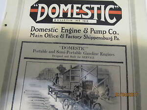 Domestic Gas Engine & Pump Co. Catalog No 19-E Manual engine carts pulley
