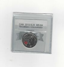 **2012 Tecumseh Colour**Coin Mart Graded Canadian, 25 Cent,**MS-64**