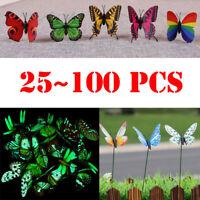 24-100Pcs Garden Butterfly Stake Luminous Butterflies Decors Fairy Yard Lawn