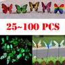 24-100Pcs Garden Butterfly Stake Luminous Butterflies Decors Fairy Yard Lawn