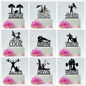 Mr And Mrs Bride and Groom Funny Custom Wedding Cake Topper Decoration Outdoor