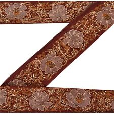 Sanskriti Vintage Sari Border Antique Hand Embroidered 1 YD Trim Sewing Brown