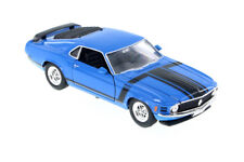 Blue 1970 Ford Mustang Boss 302 1/24 Scale Diecast Model with Window Box by Well