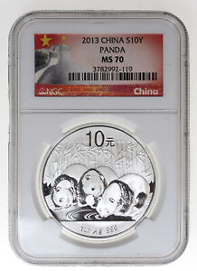 2013 1oz SILVER CHINESE PANDA NGC MS70