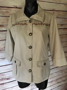 Breckenridge Beige Petite M Blazer Buttons Lined 3/4 Sleeve Cotton Embroidered