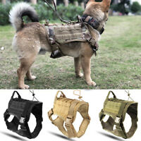 Police K9 Tactical Training Dog Harness Military Adjustable Molle Nylon Vest M/L