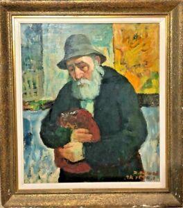 Israeli Art - Israel - A. Adler - RABBI IN PRAYER - Oil on Canvas - RARE
