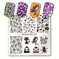 Nail Art Stamping Plates Image Plate HALLOWEEN Spiders Web Witch Skull Bats BB02