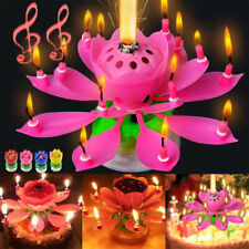 Musical Candle Lotus Flower Rotating Candles Light Happy Birthday Party Decor