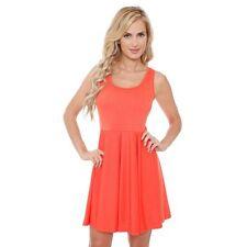 NWT White Mark Pleated Fit & Flare Dress size Large L Orange