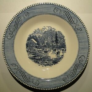 "Currier Ives Royal China Blue White Soup Bowl 8 1/2"" Early Winter Crazing"