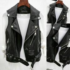 Womens Faux Leather Waistcoat Gilet Biker Sleeveless Jacket Ladies Vintage Coats