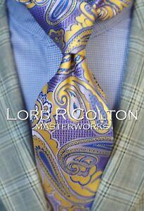 Lord R Colton Masterworks Tie - William of Essex Saffron Paisly Necktie - New