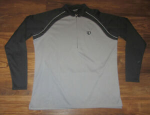 Pearl iZumi Mens Long-Sleeve 1/4-Zip Cycling Jersey, Gray, Black, Size XL, EUC