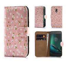 32nd Floral Design Leather Wallet Case for Motorola Moto G4 Play DESIGNER