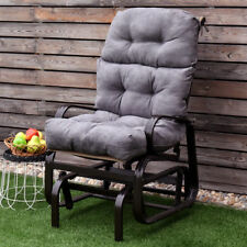 """44"""" High Back Chair Cushion Tufted Pillow Indoor Outdoor Swing Glider Seat Gray"""