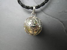 """Balinese Harmony Ball pendant genuine 925 silver 18mm """"Hearts"""" with cord"""