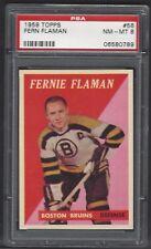 1958 Topps #56 Fern Flaman, HOF, PSA 8 NM-MT, Bruins Vintage Hockey 1958-59