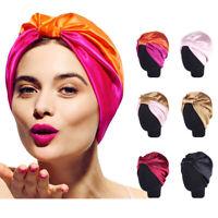 Women's Pure Silk Sleeping Cap Sleep Hats Night Hair Styling  Care Bonnet Wrap