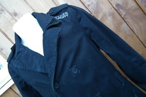 SUPERDRY Double Black Label Thigh Length Belted Jacket Mac. Trench Coat L