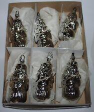 alter Christbaumschmuck aus Glas, 6 silberne Formteile, Figuren