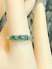 10K SOLID YELLOW GOLD NATURAL EMERALD AND DIAMOND RING + RING BOX   SIZE 6