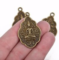 2 THAI BUDDHA charm pendants, bronze metal, religious icon, 42x26mm, chb0491