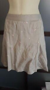 Liz Golf Skort Skirt Sz 16 Khaki Embroidered Flags and Golf Balls Adorable