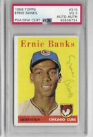 1958 Topps Ernie Banks Signed PSA DNA Authenticated & PSA 3 Graded No. 310