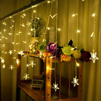 LED Star Fairy String Curtain Window Lights Battery Power Xmas Party Home Decor